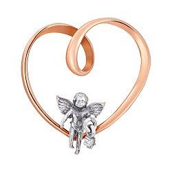 Золотой кулон Эйфория любви в комбинированном цвете с сердцем, Купидончиком и белым цирконием