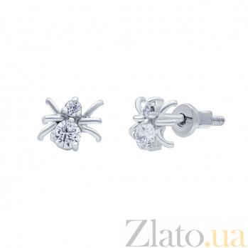 Серебряные серьги гвоздики Паук AQA--2441
