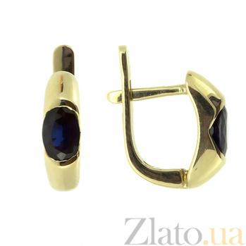Золотые серьги с сапфирами Зафира в желтом цвете ZMX--ES-6035y_K