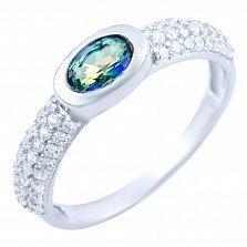 Серебряное кольцо Алсу с топазом мистик и фианитами