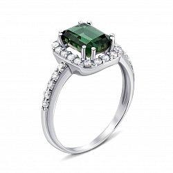 Серебряное кольцо с зеленым кварцем и фианитами 000134183