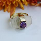 Золотое кольцо с бриллиантами, аметистом и кварцем Тайный свиток