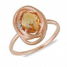Золотое кольцо Ортана с цитрином и бриллиантами