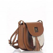 Кожаный клатч Genuine Leather 7734 коньячного цвета с мехом и плечевым ремнем