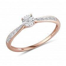 Золотое помолвочное кольцо Индиана в красном цвете с дорожкаи и бриллиантами