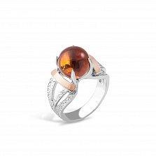 Серебряное кольцо Дорофея с золотыми накладками, янтарем и родием