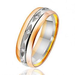 Обручальное кольцо в комбинированном цвете золота с бриллиантами и насечками 000001619