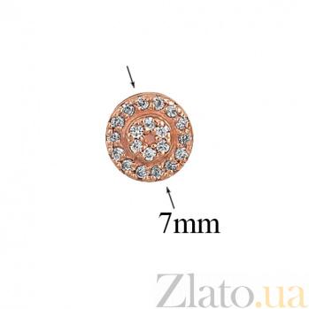 Серьги-пуссеты из красного золота с фианитами Кристиния 000023427