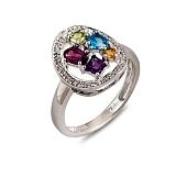 Золотое кольцо с аметистом, перидотом, топазом, турмалином, цитрином и бриллиантами Эльвира
