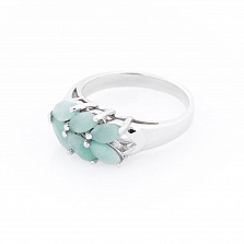 Серебряное кольцо Дженна с изумрудами