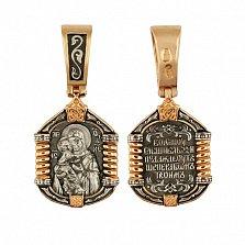 Золотая ладанка с чернением Богоматерь Владимирская