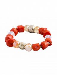 Браслет одинарный с кораллами и кристаллами Swarovski 000017371