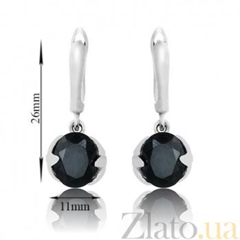 Серебряные серьги-подвески Леда с черными фианитами 000002482