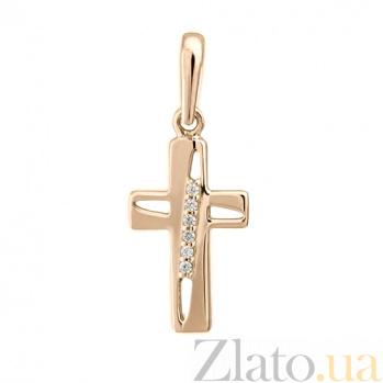 Золотой крестик с фианитами Светлый путь 000022749