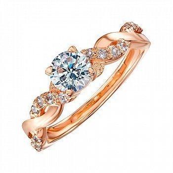 Золотое помолвочное кольцо с фианитами 000095137