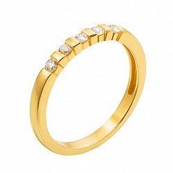 Золотое кольцо Сабрина в желтом цвете с фианитами