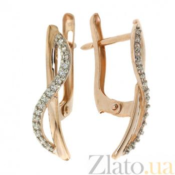 Золотые серьги с фианитами Руслана TNG--420762