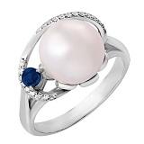 Серебряное кольцо с сапфиром и цирконием Эврика