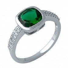 Серебряное кольцо Лаодика с синтезированным изумрудом и фианитами