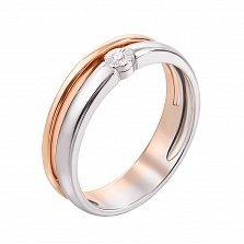 Кольцо в красном и белом золоте Шарман с бриллиантом