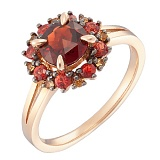Золотое кольцо Мальва с гранатом и сапфирами