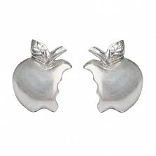 Серебряные серьги-пуссеты Эппл