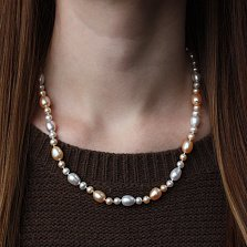 Ожерелье на серебряном замке Эстим с кремовым и белым жемчугом диам. 5-8,5мм
