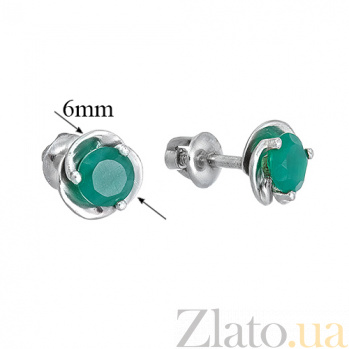 Серебряные пуссеты с зелеными агатами Подарок 2088/9р агат5