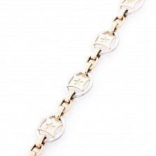 Золотой браслет на ногу Божья коровка с эмалью
