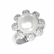 Серебряное кольцо Белинда с жемчугом и фианитами