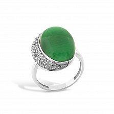 Серебряное кольцо Забава с зеленым улекситом и фианитами