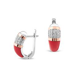 Серебряные серьги Моник с золотыми накладками, кораллами и фианитами 000066823