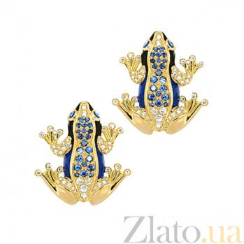 Золотые серьги с эмалью, бриллиантами и сапфирами Лягушки Чудо бытия 000029598