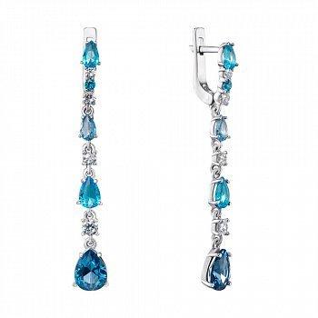 Серебряные серьги-подвески с кварцем под голубые и лондон топазы и фианитами 000135763