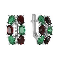 Серебряные серьги с гранатом, зеленым кварцем и цирконием 000061467