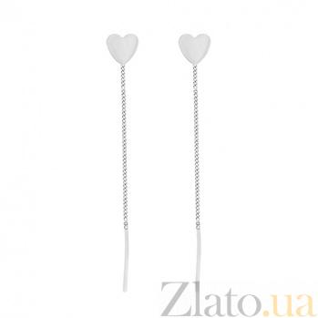 Золотые серьги на цепочке в белом цвете Любляна 000015478
