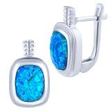 Серебряные серьги Жанин с голубым опалом