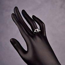 Серебряное кольцо Ирма с изумрудом  и бриллиантами