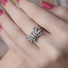 Серебряное кольцо Черно-белый бантик