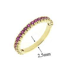 Золотое кольцо в жёлтом цвете с рубинами Каприз