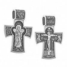 Серебряный строгий черненный крест Царь Славы с Ангелом Хранителем на тыльной стороне