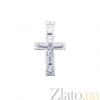 Серебряный крест родированный Светлое воскресенье AQA--3543-б