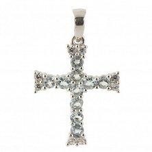 Серебряный крестик Тулон с голубым топазом и фианитами