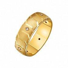 Золотое обручальное кольцо Образ с наческой и фианитами