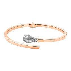 Жесткий браслет из красного золота с фианитами 000137107