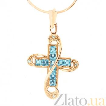Золотой декоративный крест с бриллиантами и топазами Эйлат 000021554