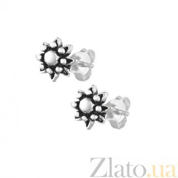 Серебряные сережки-гвоздики Крокусы SLX--С5/060