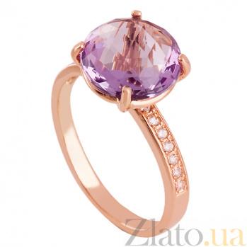 Золотое кольцо с аметистом и цирконием Каллиста VLN--112-1437-4