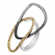 Серебряное кольцо Артик с позолотой и чернением