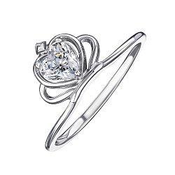 Серебряное кольцо-корона с кристаллом Swarovski 000119318
